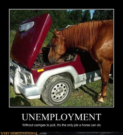 UNEMPLOYMENT Without carriges to pull, it's the only job a horse can do