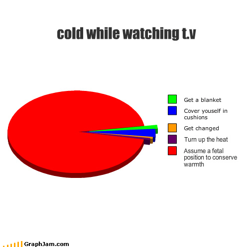 blanket,cold,cushions,fetal position,Heat,Pie Chart,television,temperature