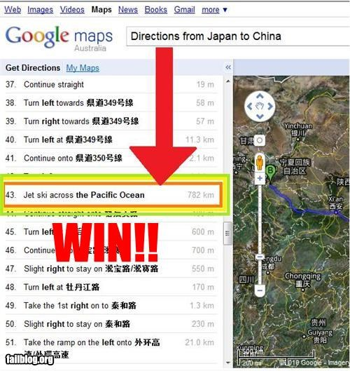Map Directions WIN!! Epic WIN for directions from Japan to China!