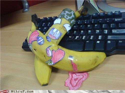 banana cubicle boredom googly eyes personification - 4122511360