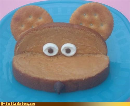 face,mouse,peanut butter,sandwich