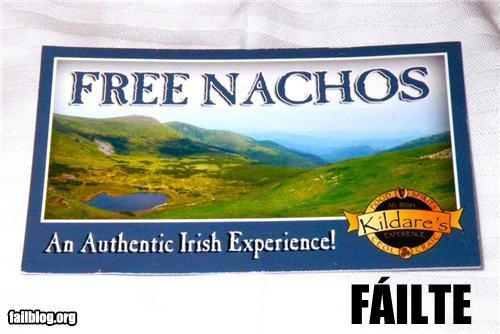 Authentic Irish Experience Fail A bar in Chapel Hill, North Carolina was handing these out.