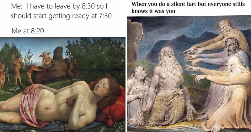Funny classical art memes.