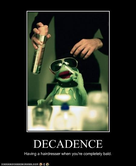 bald decadence hair kermit the frog lolz luxury rich the muppets - 4124731392