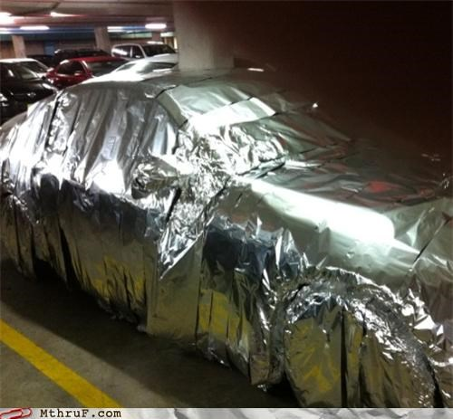 back to the future,car,prank,tinfoil
