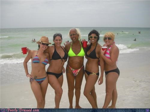 bald cap,beach,bikini,eww,guy,swimsuits