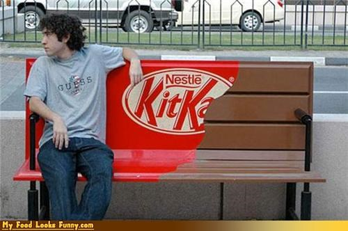 advertising,bench,candy,chocolate,fake,kit kat,snacks,Sweet Treats