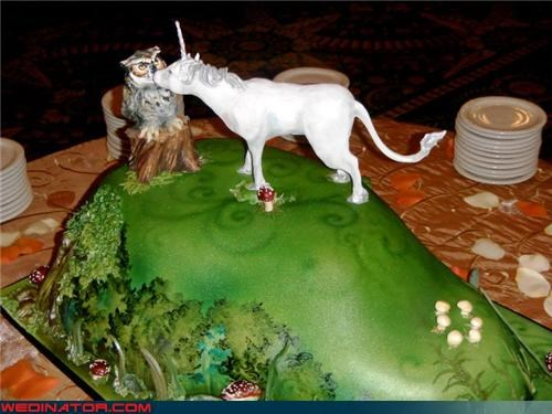 crazy wedding cake Dreamcake enchanted forest wedding cake funny wedding photos grassy knoll green icing owl cake topper silly wedding cake unicorn cake topper were-in-love wtf - 4125900800