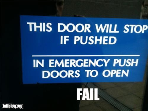 confusing,doors,emergency,failboat,g rated,instructions,push,sign