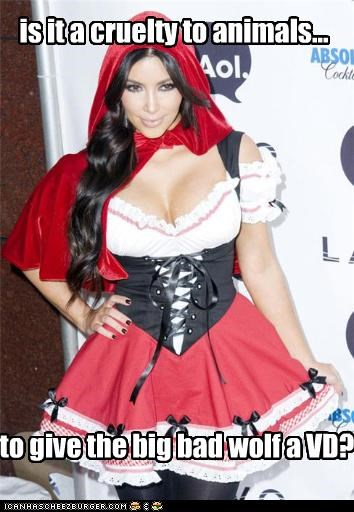 attention whores,costume,famous for no reason,kim kardashian,Little Red Riding Hood,lolz,STD