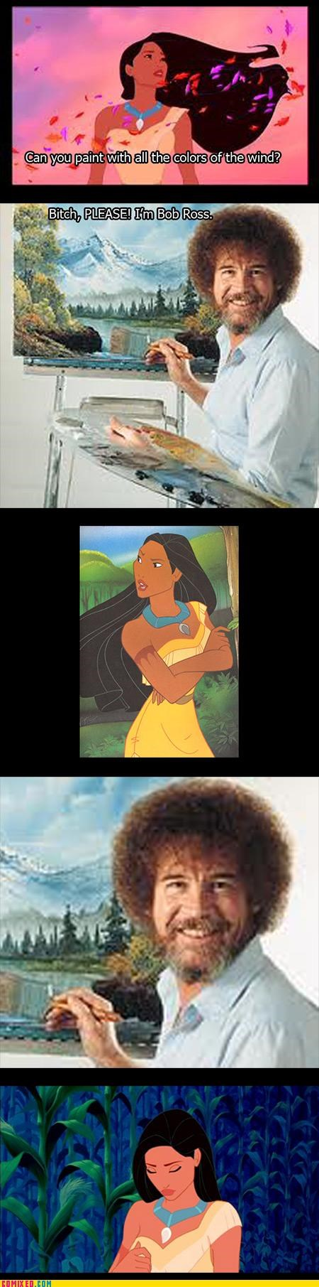 art,bob ross,cartoons,color,disney,pocahontas