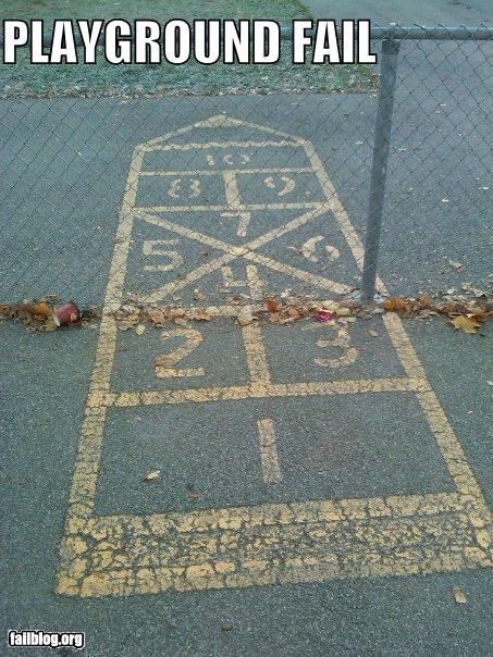 Hopscotch fail Just noticed this in my son's playground at school. High level of difficulty for grade schoolers?