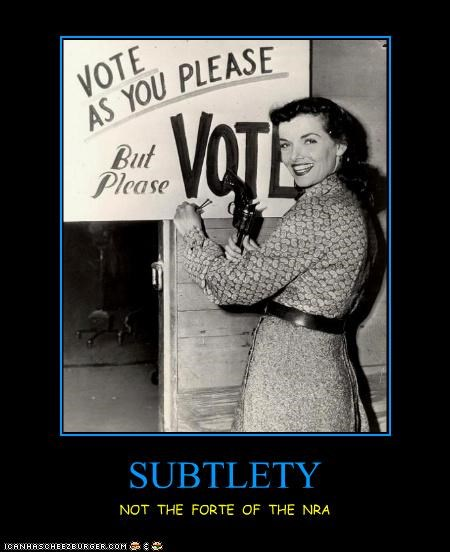 demotivational,funny,lady,NRA,Photo,photograph,vote