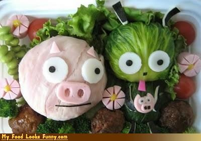 bento box box cabbage cartoons cheese fruits-veggies GIR Invader Zim lunch meals meat piggy protein - 4129417728