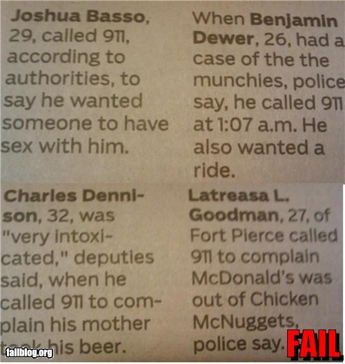911 calls failboat munchies newspapers police reports rides - 4129491968
