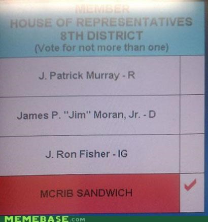 ballot i voted lunch time McDonald's mcrib Memes write-in - 4129882368