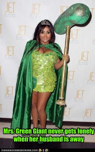 costume,fashion disaster,jolly green giant,lolz,naughty devices,pickles,snooki,wtf
