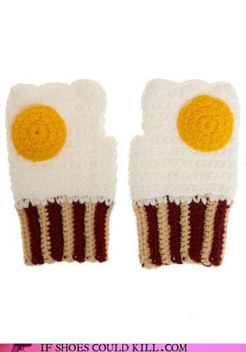 bacon,eggs,gloves,hand knit