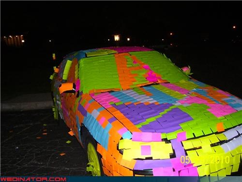 colorful wedding exit,crazy decorated getaway car,crazy wedding car picture,evil,funny wedding photos,miscellaneous-oops,Post It getaway car,Post It insanity,surprise,technical difficulties,wedding getaway car,Wedding Themes,wtf