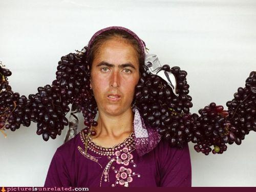 fashion food grapes hair wtf