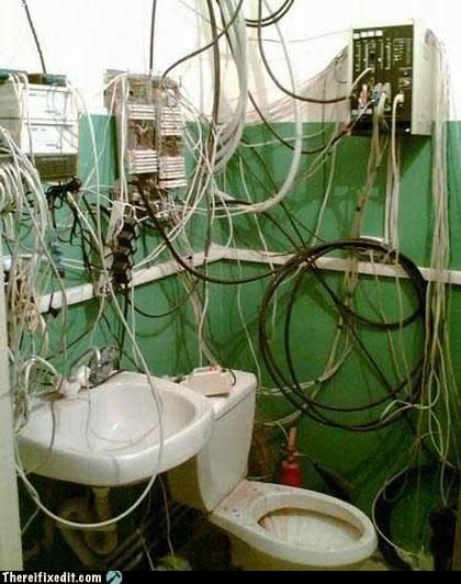 bathroom dangerous electrocution toilet wiring - 4131694592