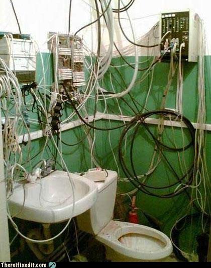 bathroom dangerous electrocution toilet wiring - 4131694592