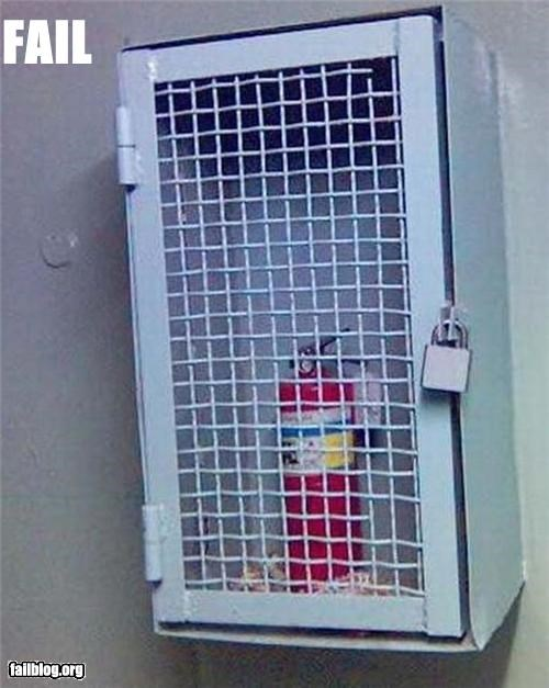 cage,failboat,fire extinguisher,fire safety,g rated,locked,no glass to break
