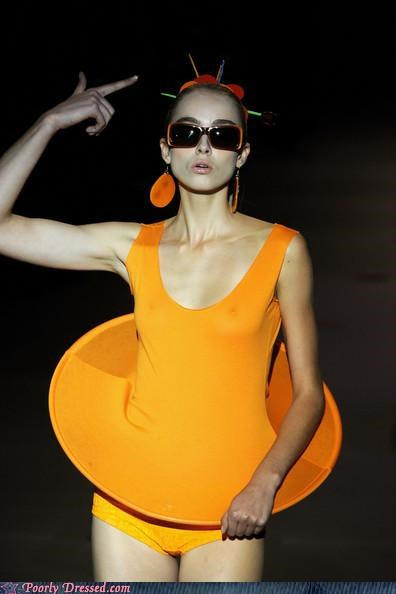 model orange skirt wtf