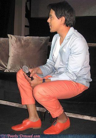 color,famous,orange,pants,shoes,wtf