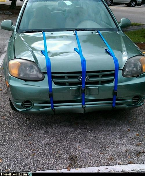 bumper,cars,hood,tied down