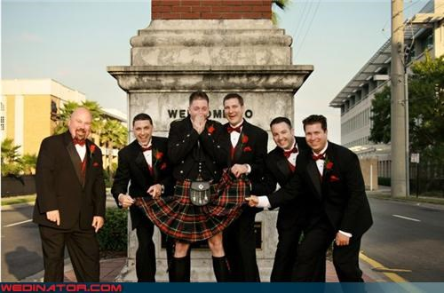 crazy groom,fashion is my passion,funny groomsmen picture,funny wedding photos,groom in a kilt,groom in a skirt,Groomsmen,kilt,Scottish kilt,Scottish skirt,surprise,traditional groom,traditional groom attire,traditional wedding garb,wedding party,Wedding Themes