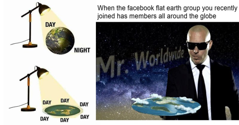 Funny memes about flat earth theory, Elon Musk, globe, web comics, science.