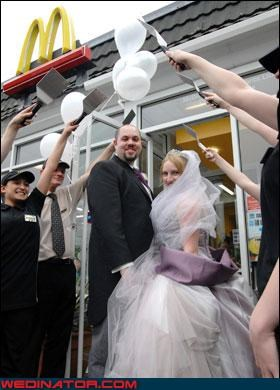 bride,eww,fashion is my passion,fast food wedding,fries with that shake,funny wedding photos,groom,McDonald's,mcnewlyweds,romantic fast food wedding,were-in-love,wedding-at-mcdonalds,Wedding Themes