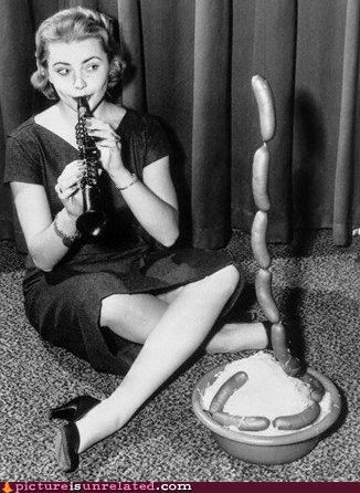 black and white food meat puns sausage snakes vintage wtf - 4136221184