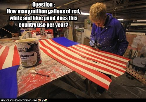 Question : How many million gallons of red, white and blue paint does this country use per year?