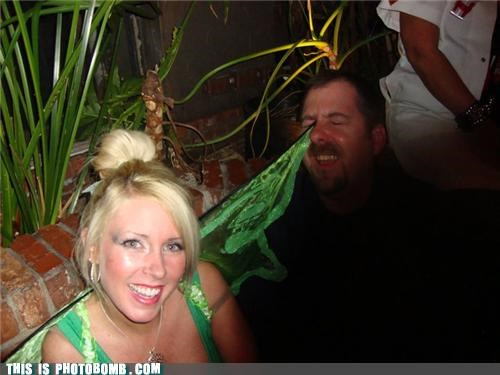 babe costume FAIL photobomb stabbed in the eye tinkerbell