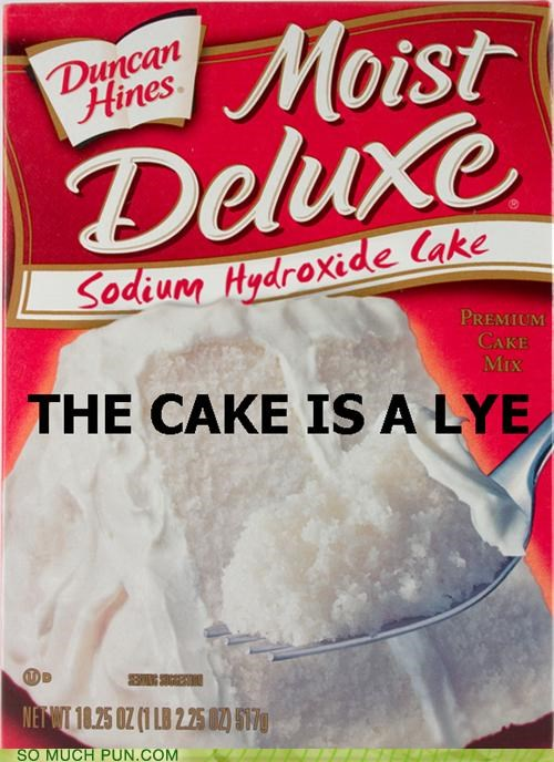 cake,cake mix,caustic,chemical,clean,cleaning supply,companion cube,lye,mix,Portal,reaction