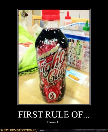 bottles,dont-talk-about-fight-club,fight club,first rule,soda,wtf