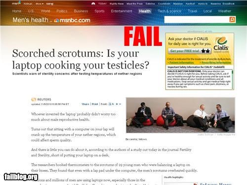 ads burns drugs failboat Heat laptops mens health ouch p33n