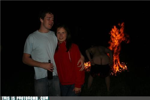 bad ass,beer,fire,mooning,photobomb,puns