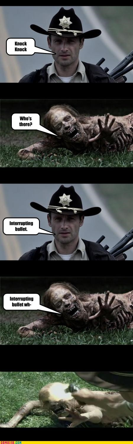 guns,interuptions,TV,The Walking Dead,zombie