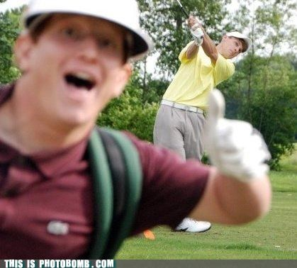 golf,photobomb,sports,thumbs up