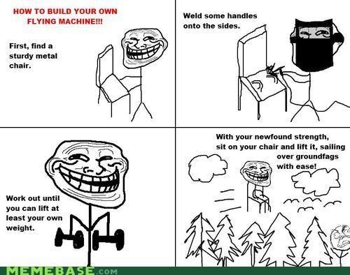 chair flying magnets Memes troll troll face troll science - 4144572928