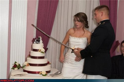 bride,cake sword cutting,cutting the wedding cake,Dreamcake,funny wedding cake picture,funny wedding photos,groom,saber,saber cake cutting,technical difficulties,wedding cake,wtf