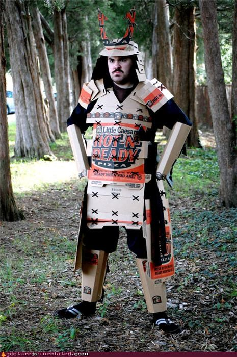 awesome cardboard outfit pizza puns samurai wtf - 4146249984