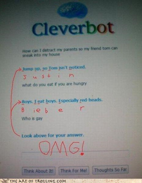 cryptogram,epic,gay,is cleverbot always this awesome,justin bieber