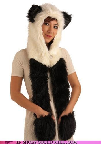 Animalia fashion gone wrong faux fur hat panda scarf - 4146784000