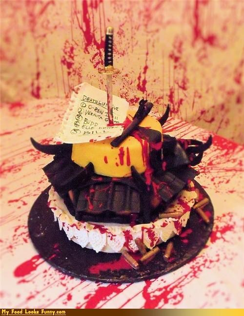 Blood bullets cake Kill Bill Movie quentin tarantino Sweet Treats sword