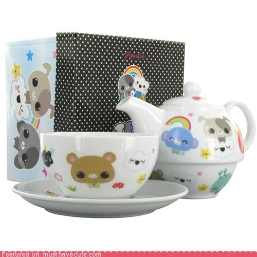 characters For One pottery saucer tea cup tea pot tea set - 4147271936