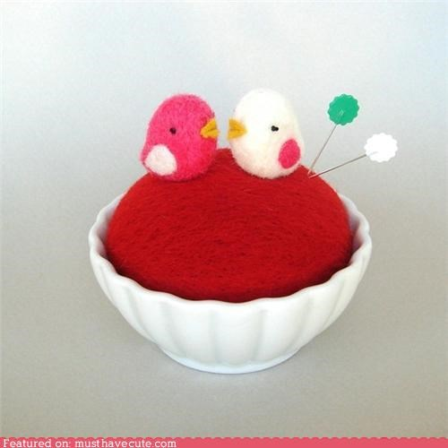 birds,craft,felt,felted,figurine,miniature,pincusion,red,Teeny